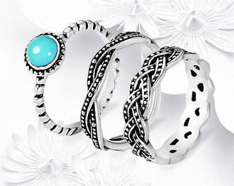 Hand Crafted 925 Sterling Silver Turquoise Ring Set Size 10