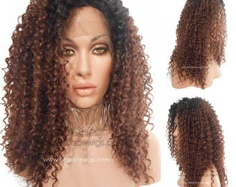 Dark Root Crinkle Kinky wavy Lace Front wig FELICITY ombre wig lace front wig Nicki Minaj wig Kardashian lace front wig drag queen lace wig