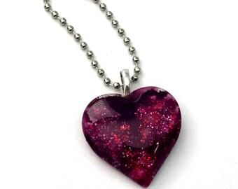 Red/Purple Glitter Heart Charm for Planner, Purse, Zipper Accessory, Keys