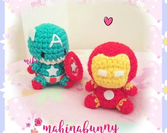 Cute Ironman plush, Captain America plush, Crochet super hero plush, amigurumi Iron man doll, crochet doll, plush Ironman amigurumi