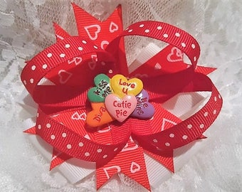 Valentine Conversation Heart Hair Bow