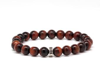 Red Tiger Eye Gemstone Sterling Silver Stone Bracelet