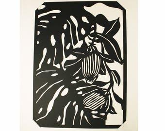 Découpage en papier noir Fleurs Tropicales /// Claire Colin