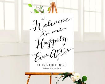 18x24 Welcome to Our Happily Ever After Sign, Wedding Sign Instant Download, DIY Sign Printable, Wedding Reception Sign