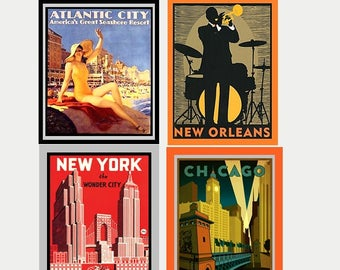 4 American City Decals - Art Deco Decal - Art Nouveau Decal - Vintage Style Sticker - New York, Chicago, New Orleans, Atlantic City - S500