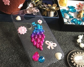 Colorized 3D Peacock Bow Flowers Floral Bling Pearls Sparkles Jwelled Crystals Rhinestones Diamonds Gems Hard Cover Case for Mobile Phone