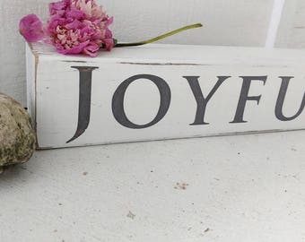 JOYFUL wood WORD BLOCK // distressed white // gray and white // home accents // happy life