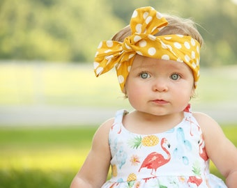DOTTIE MUSTARD Gorgeous Wrap- headwrap; fabric head wrap; polka dot head wrap; newborn headband; baby headband; toddler headband