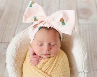 MAUI PINEAPPLE Gorgeous Wrap- headwrap; fabric head wrap; floral head wrap; boho; newborn headband; baby headband; toddler headband