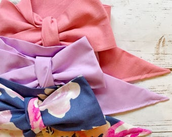 Gorgeous Wrap Trio (3 Gorgeous Wraps)-Vintage Pink, Light Lavender & Royal Blue Floral Gorgeous Wraps; headwraps; fabric head wraps; bows