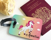 Personalised Unicorn Kids Childrens Hardwood Glossy Luggage Tags for suitcase holiday accessory