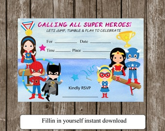gymnastics invitation-supergirl- birthday- invitation-you fillin your self-birthday party invite- instant download-girls-boys invite