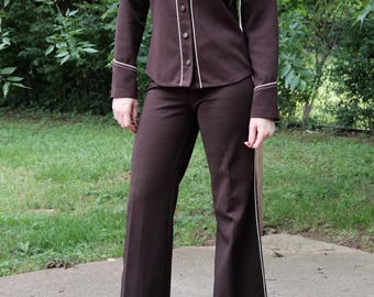 Vintage western brown polyester suit/60's/70's/Two piece suit/Size:Small