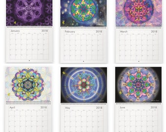 In the Flow through 2018, Wall Calendar, Colorful Mandalas, Psy Prints, Wall Art, spiritual designs, unique, gift, meditation, psychedelic