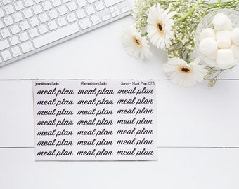 073 // Meal Plan Script Stickers for Erin Condren, Recollection, BuJo, Travelers' Notebook, Happy Planner