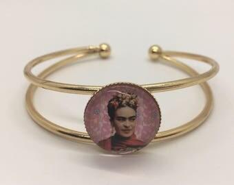 Frida Kahlo Gold Metal Cuff, Frida Kahlo Bracelet, Frida Kahlo Jewelry, Mexican Culture, Inspirational, Valentine's Day Gifts
