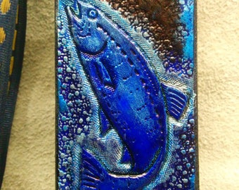 Leather bookmark, fish, blue and Brown pattern, engraved and painted by hand