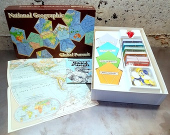 Vintage 1987 National Geographic Global Pursuit Game/Trivia Game/Geography Learning/Family Fun/Vintage Board Game/Educational Learning/