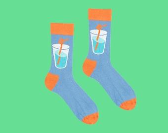 Elda Socks, Drink on Me Socks, Blues Socks, Glass Socks,Soda Socks,Girl Night, Fun Socks, Socks for Men, Bright Socks, Women's Socks