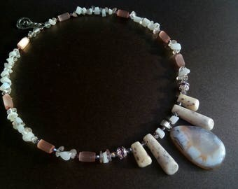 White purple gemstone handmade necklace gift for her summer gift for Mom creamy white purple gemstone handmade necklace handmade jewelry