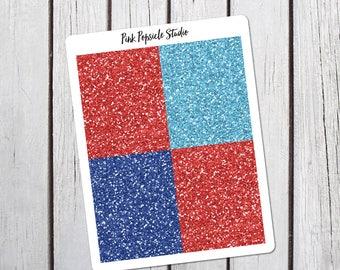 4th of July Glitter Headers Planner Stickers Designed for Erin Condren Vertical Life Planner