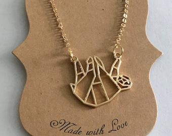 Sloth necklace -Sloth origami necklace-Sloth geometric necklace -Sloth Phish necklace