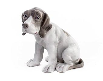 Gebrüder Heubach Dog Figurine, Porcelain Pointer Puppy, Beagle Figure