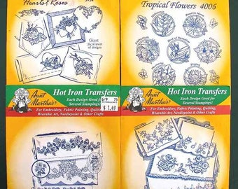 4 Aunt Martha's Hot Iron Transfers All Floral Designs Most are New, Sealed
