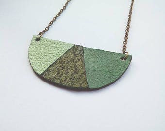 Green leather bib necklace