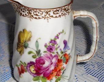 Antique DRESDEN Hand Painted Milk Jug /  Creamer