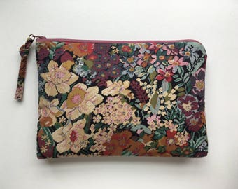 LARGE multi-colored faux-embroidered vintage floral zippered pouch