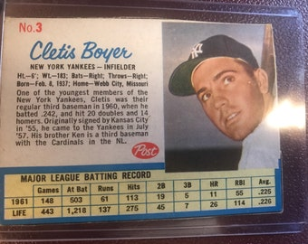 1962 Post Cletis Boyer Trading Card #3