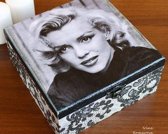 Monroe trinket box, Marylin jewelry box, decoupage, home decor, black and white, gift for her