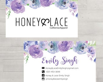 PRINTABLE Honey & Lace Business Card, Honey and Lace Business Card, Floral Business Cards, Digital File HL002