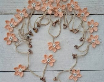 ON SALE Flower lariat beaded necklace garland scarf crochet light peach flowers Natural stone necklace Women fashion neck accessories Christ