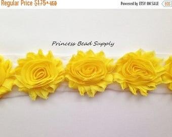 SALE Yellow Shabby Flowers by the Yard, Shabby Chic Chiffon Flowers, Shabby Flower Trim,  Shabby Rose Trim, Headband Supplies, Headband Flow