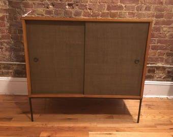 "Paul Mccobb vintage mid century 36"" maple cabinet woven sliding doors iron base - tobacco blonde finish"