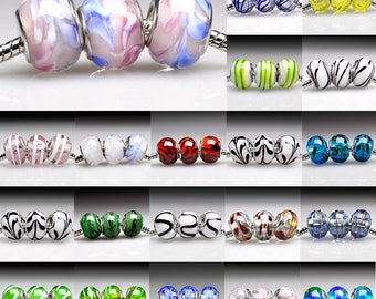 5pcs Murano Glass Lampwork Bead fit European Charm Bracelet, European beads Large Hole beads, 14x14x10mm, 31 Colors, V-LBSET03