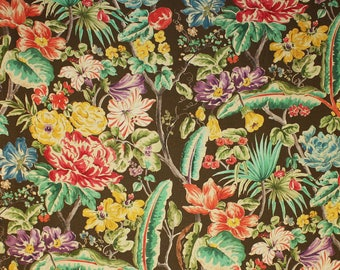 CLARENCE HOUSE MARGOT Floral Linen Fabric 10 Yards Brown Multi