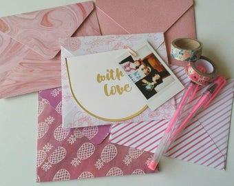 Pink Hues Envelope Pack / Five Handmade Envelopes / Flowers, Pineapples, Marble / Cardstock Envelopes / Unique Envelopes / Envelopes
