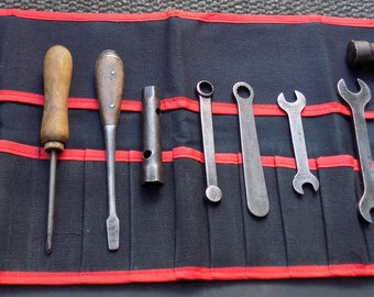 Superb MG TOOL KIT,Shelley Pliers,Screwdrivers,Enots Grease Gun,Cylinder Head Spanners