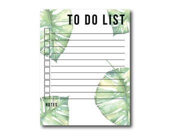 Monstera Note Pad | Monstera, To Do List Notepad, Note Pad, Notepads, Garden Notepad, Gifts for Her, To Do List, Inspirational, Flowers