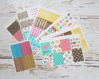Coffee Lover Weekly Planner Sticker Kit and Washi Removable Matte  or Glossy Stickers