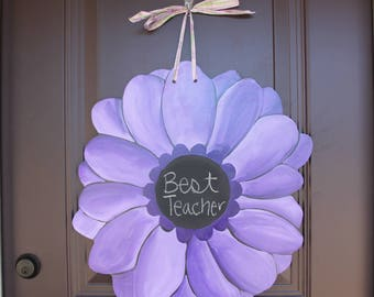 Gerber Daisy/Purple Door Hanger with Chalkboard