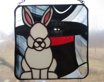 Magic Illusion Magician Hat and Rabbit Stained Glass Suncatcher