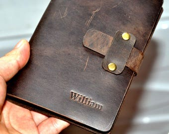 Leather lined A5 journal  Journal Leather Notebook(free stamp)