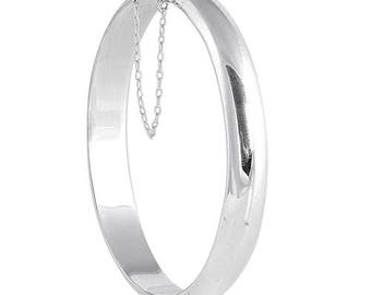925 Sterling Silver Hinged Bangle Bracelet w/Safety Chain - 9 X 55 X 60 mm