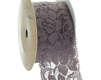 "1.5"" Stretch Elastic Lace Trim - Cocoa Brown - Choose Length"