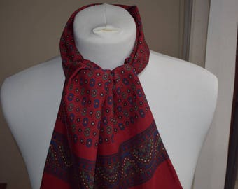 1960's Vintage Red, Blue and Green Paisley Patterned Scalf