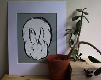 Original 8x10 White and Blue Rabbit Matted Sumi Ink Painting